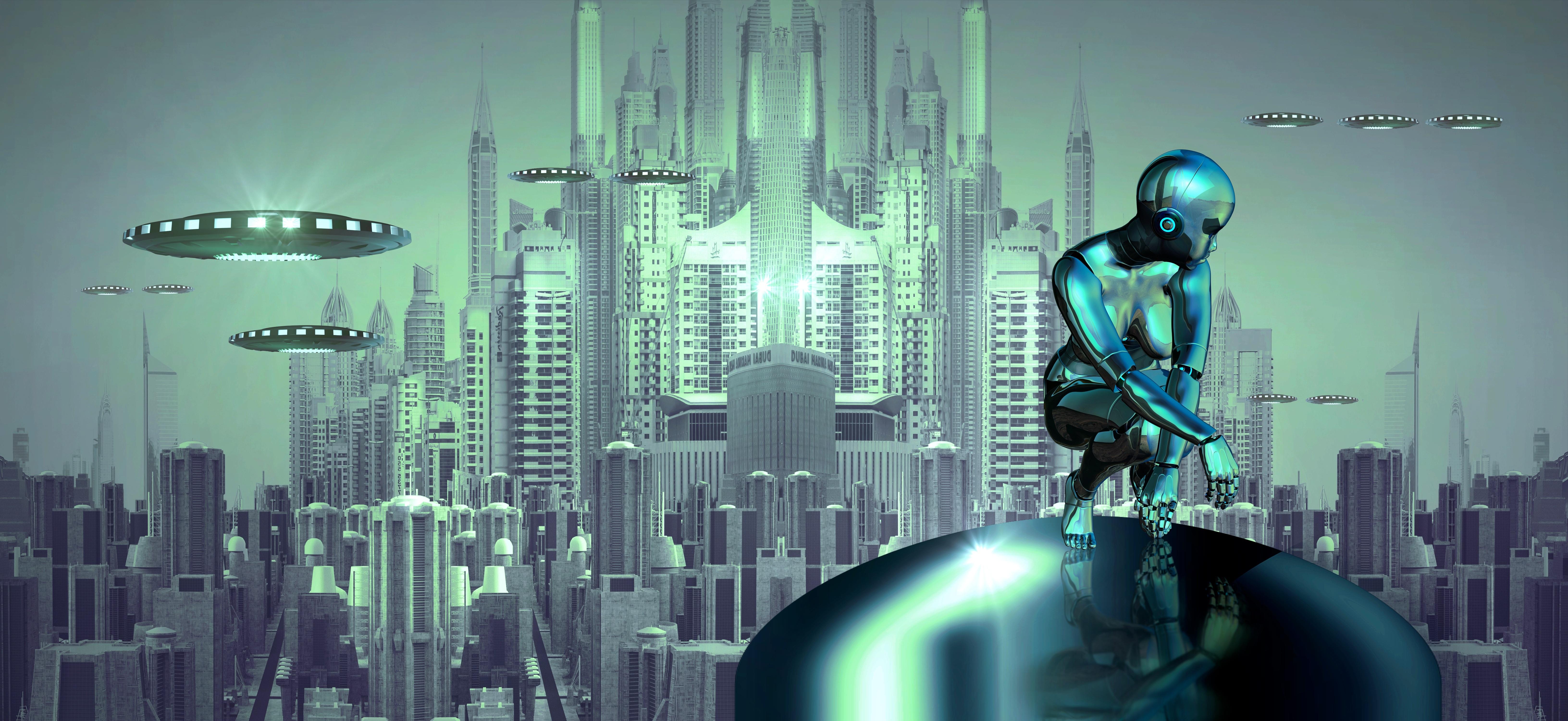 Alien Spacecraft Over The City 5k Retina Ultra Hd Wallpaper