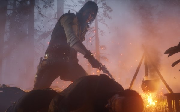 Video Game Red Dead Redemption 2 Red Dead Western Cowboy John Marston Fire Red Dead Redemption Night Forest Weapon HD Wallpaper | Background Image