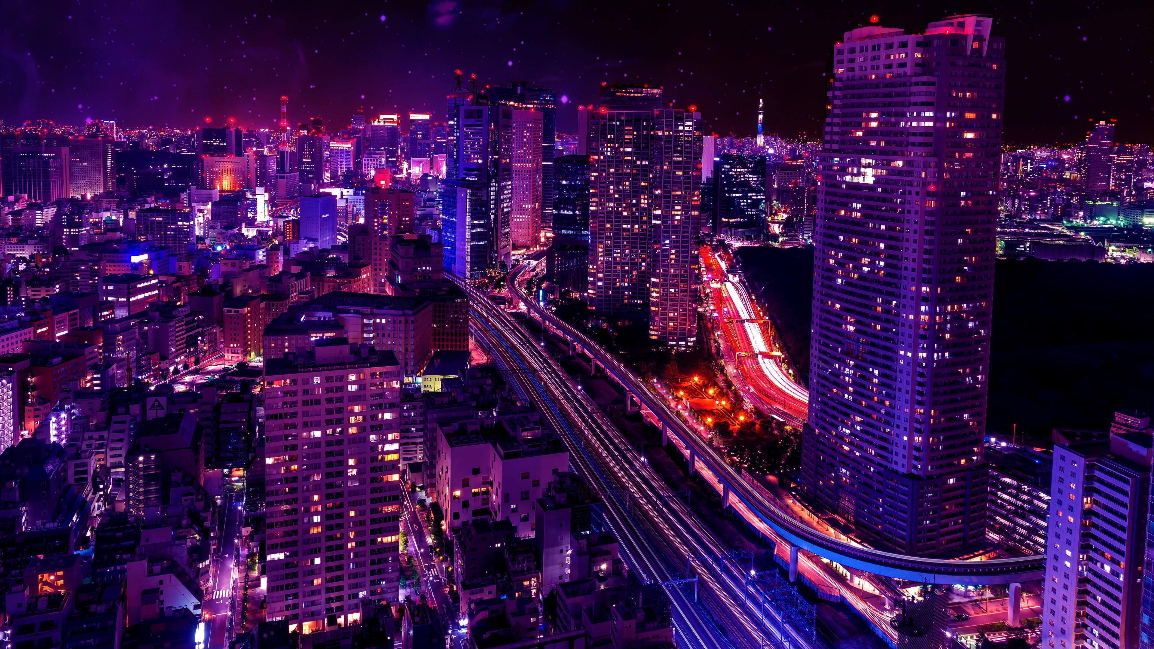 Night In The City 4k Ultra Fondo De Pantalla Hd Fondo De