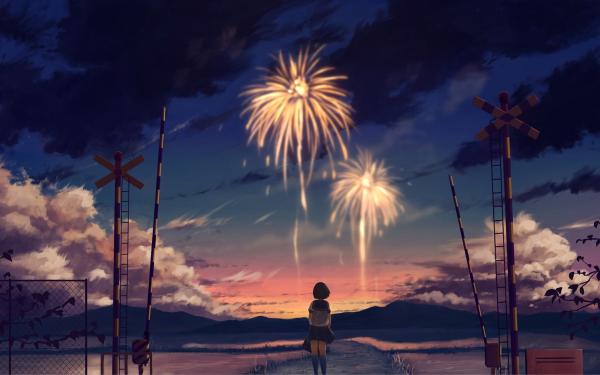 Anime Original Fireworks Short Hair Brown Hair Sunset HD Wallpaper   Background Image