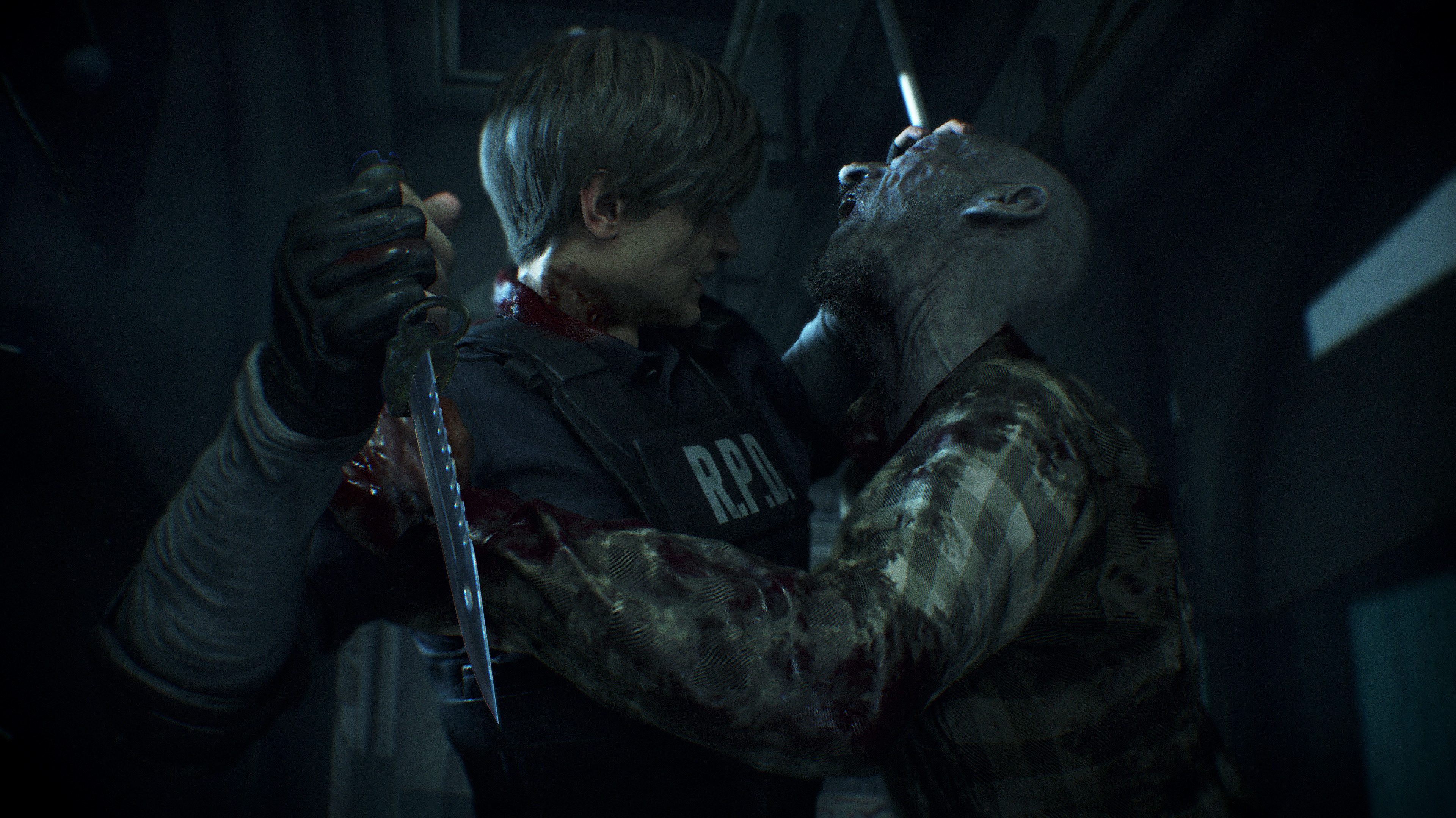 Resident Evil 2 2019 Leon Zombie Attack 4k Ultra Hd Wallpaper