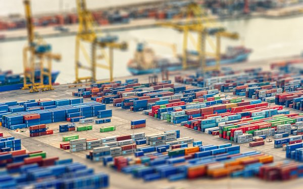 Photography Tilt Shift Container Dock HD Wallpaper | Background Image