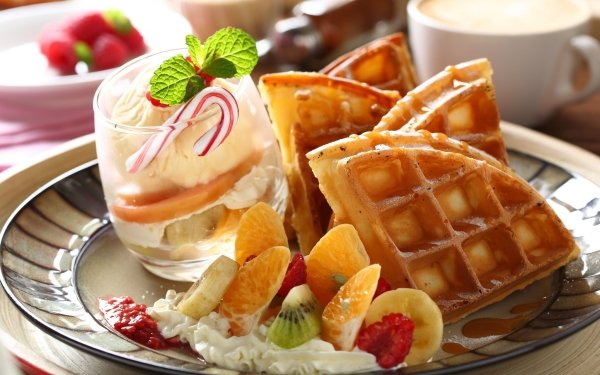 Alimento Desayuno Bodegón Gofre Fruta Cup Fondo de pantalla HD | Fondo de Escritorio