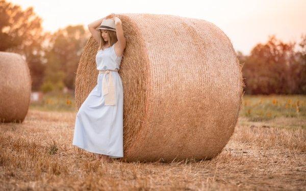 Women Mood Model Haystack Dress Hat Summer Blue Dress HD Wallpaper   Background Image