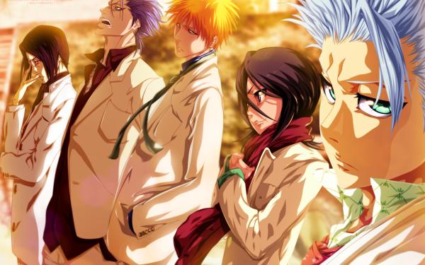 Anime Bleach Ichigo Kurosaki Rukia Kuchiki Tōshirō Hitsugaya Grimmjow Jaegerjaquez Uryu Ishida HD Wallpaper | Background Image