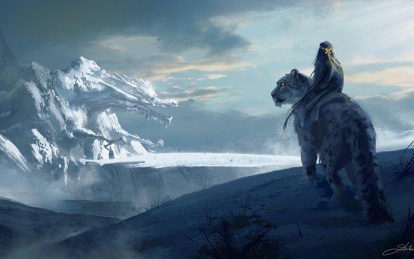 Fantasy Women Landscape Snow Leopard HD Wallpaper   Background Image