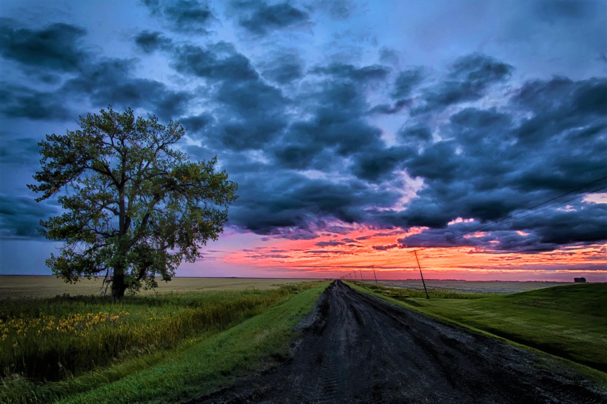 Road At Sunset HD Wallpaper