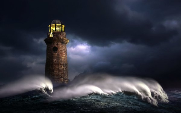 Man Made Lighthouse Buildings Storm Sea Ocean Wave Brick HD Wallpaper   Background Image