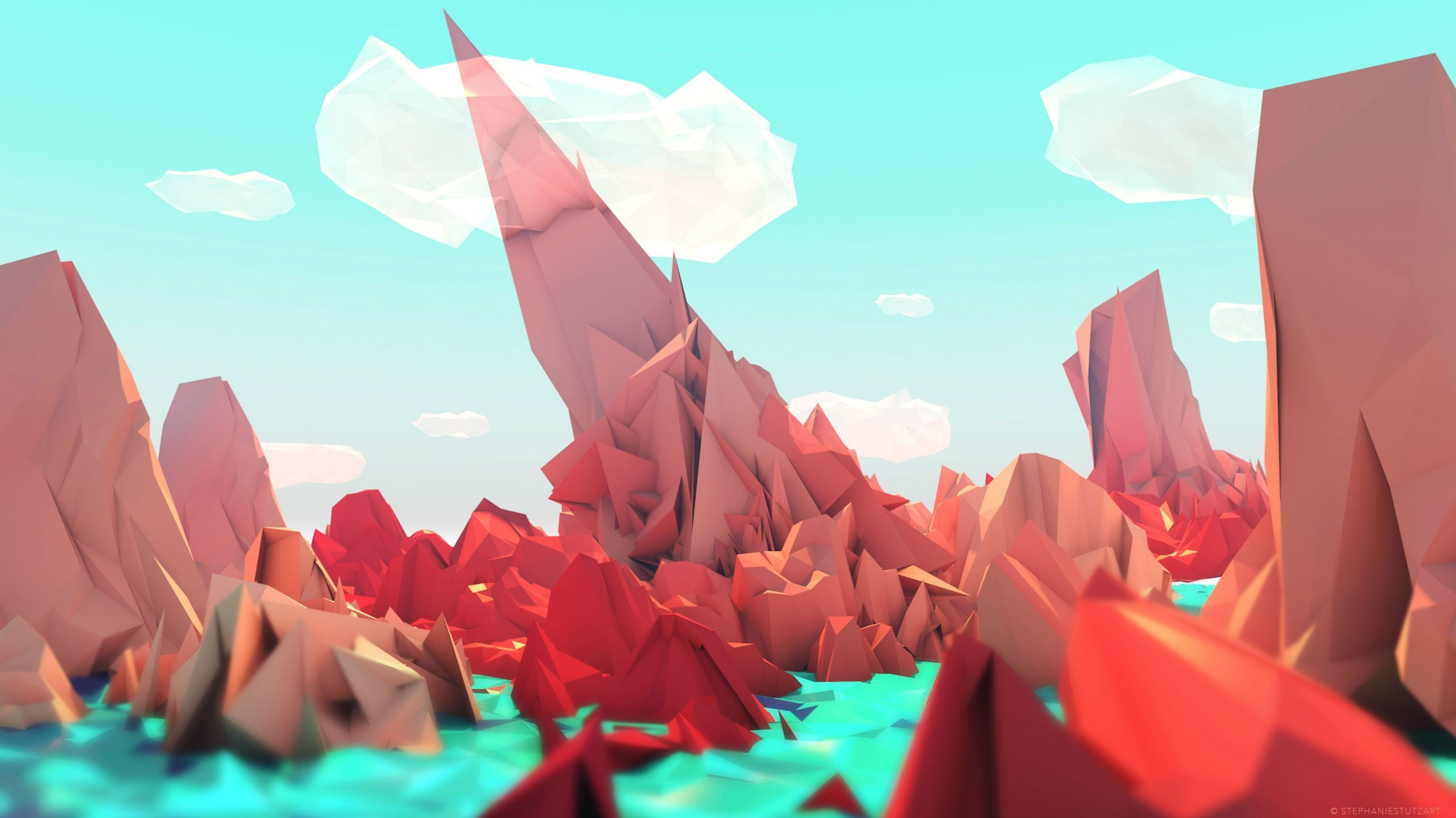 Low Poly Hd Wallpaper Background Image 2560x1440 Id 950460 Wallpaper Abyss