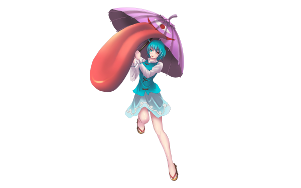 Anime Touhou Kogasa Tatara Heterochromia Umbrella Blue Hair Blue Eyes Skirt Sandal HD Wallpaper | Background Image