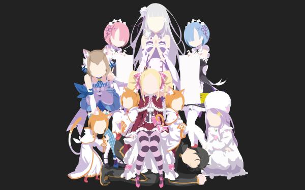 Anime Re:ZERO -Starting Life in Another World- Rem Ram Emilia Felix Argyle Beatrice Anastasia Hoshin Mimi Pearlbaton Hetaro Pearlbaton Tivey Pearlbaton Subaru Natsuki HD Wallpaper | Background Image