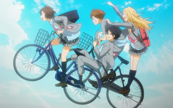 Anime Your Lie in April Kaori Miyazono Ryota Watari Tsubaki Sawabe Kousei Arima Bicycle HD Wallpaper   Background Image
