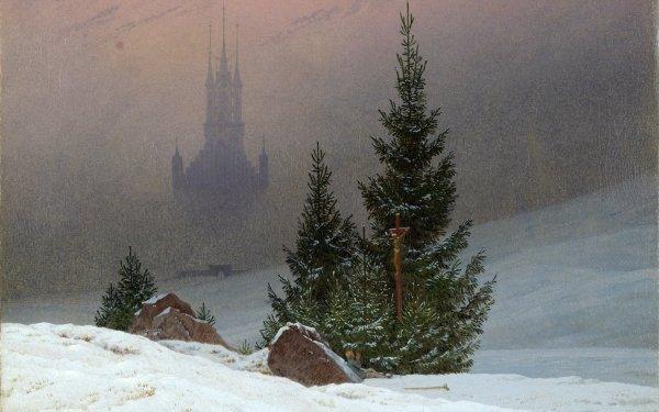 Artístico Pintura Invierno Paisaje Snow Árbol Cruz Religious Praying Fondo de pantalla HD | Fondo de Escritorio