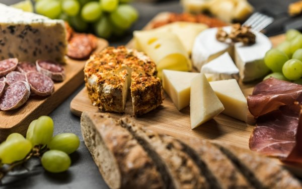 Food Still Life Cheese Bread Grapes HD Wallpaper | Background Image
