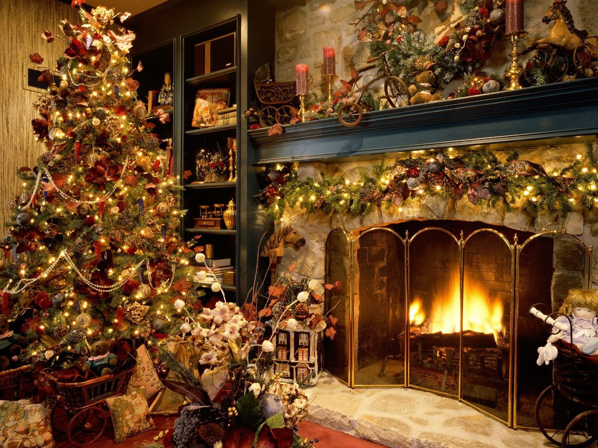 Holiday - Christmas  Christmas Tree Christmas Ornaments Fireplace Wallpaper