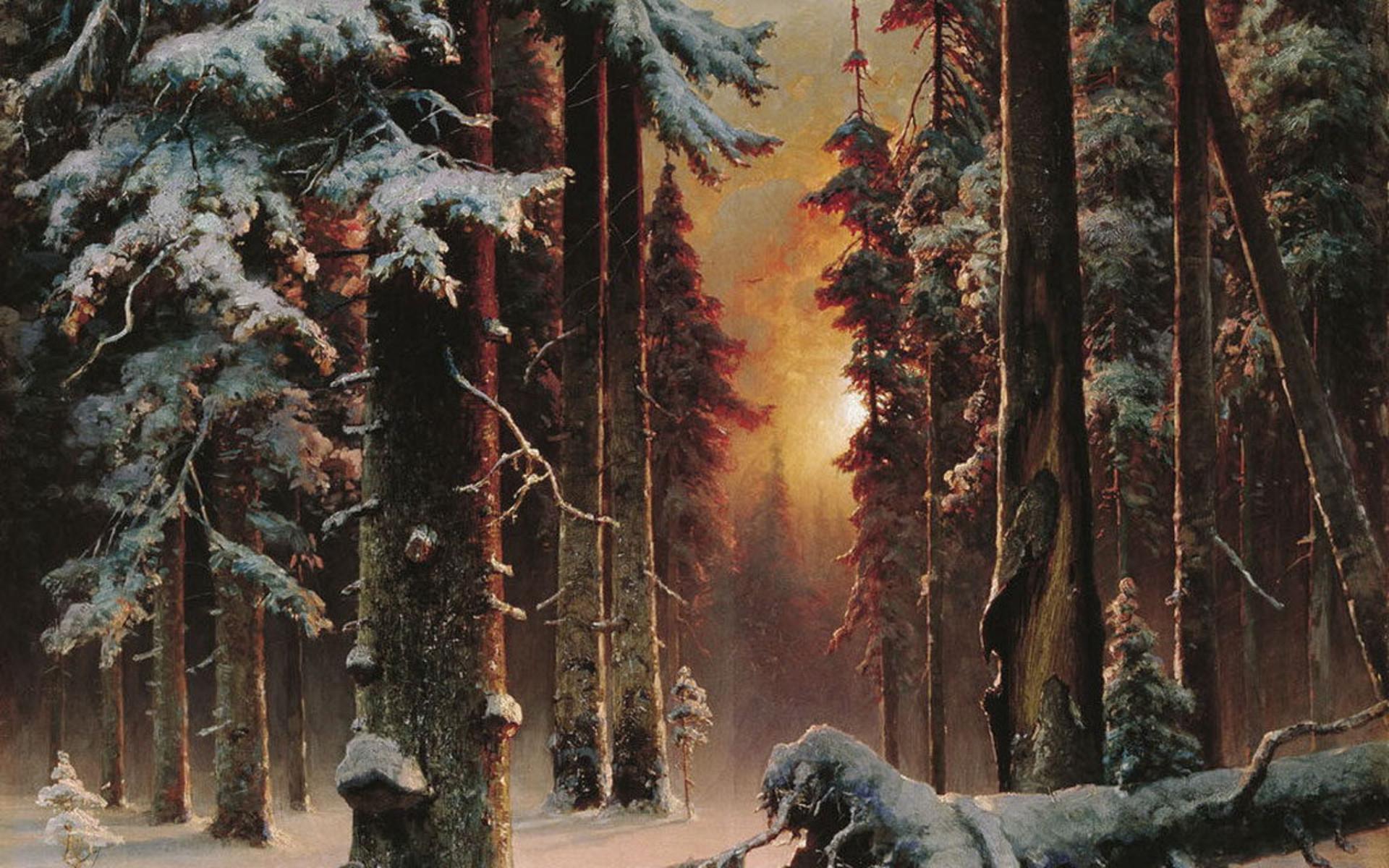 Artistiek - Natuur  - Bos - Snow - Winter Achtergrond