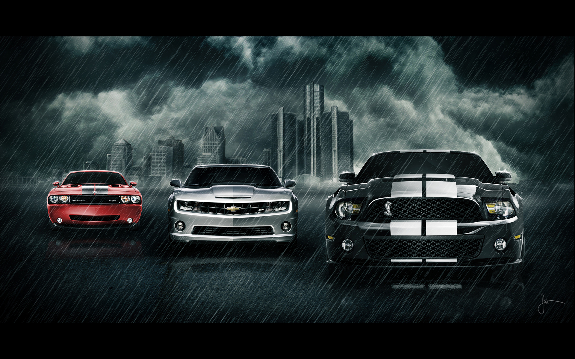 Vehicles - Car  - Cars - Mustang - Camaro - Challenger - Muscle - Rain - Mustang Camaro Challenger Wallpaper