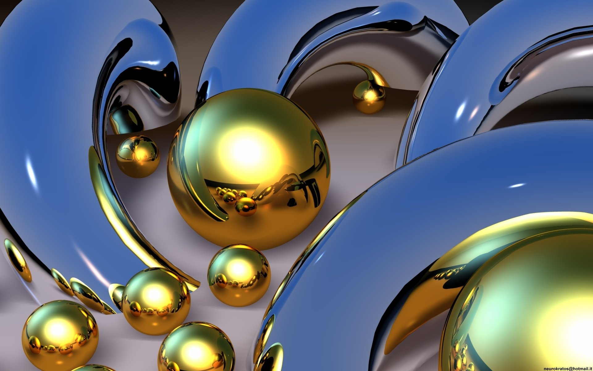CGI - Cool  Chrome Gold Silver Metaal CGI Wallpaper