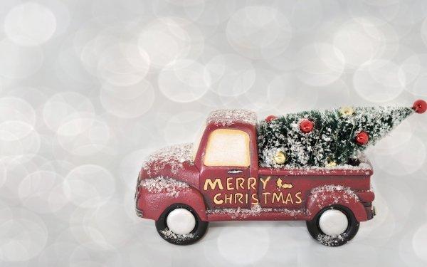 Holiday Christmas Christmas Tree Van Merry Christmas HD Wallpaper | Background Image