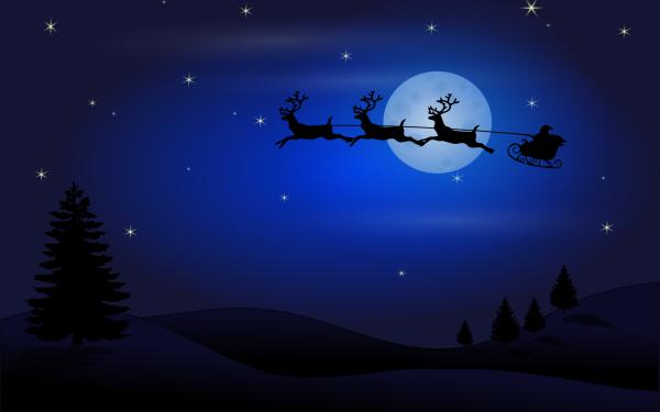 Holiday Christmas Night Santa Sled Reindeer Stars Moon HD Wallpaper   Background Image