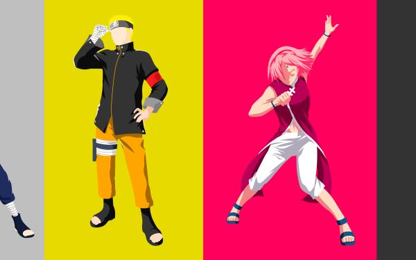 Anime Naruto Black Hair Blondinen Minimalist Naruto Uzumaki Pink Hair Sakura Haruno Sasuke Uchiha Short Hair Suit White Hair Kakashi Hatake HD Wallpaper | Hintergrund