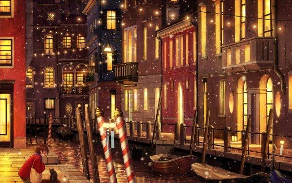 Anime Original Short Hair Brown Hair Cat City Boat Bag Christmas Lights Snowfall HD Wallpaper   Background Image