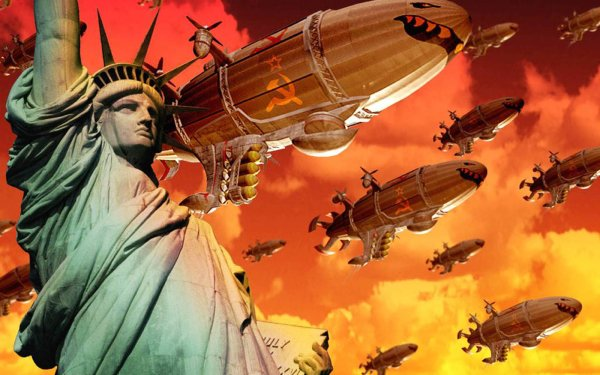 Video Game Command & Conquer: Red Alert 2 Soviet Invasion Statue of Liberty Communist Joseph Stalin Blimp HD Wallpaper | Background Image