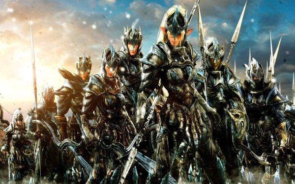 Fantaisie Guerrier(ère) Armor Elfe Spear Fond d'écran HD   Image