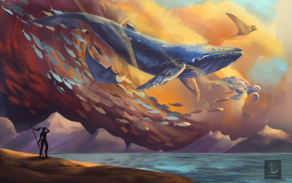 Fantasy Animal Fantasy Animals Whale Manta Ray Turtle Fish HD Wallpaper   Background Image