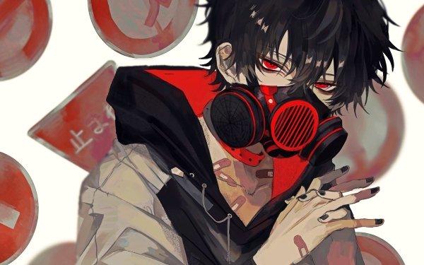Anime Original Short Hair Black Hair Bandage Máscara antigás Red Eyes Fondo de pantalla HD | Fondo de Escritorio