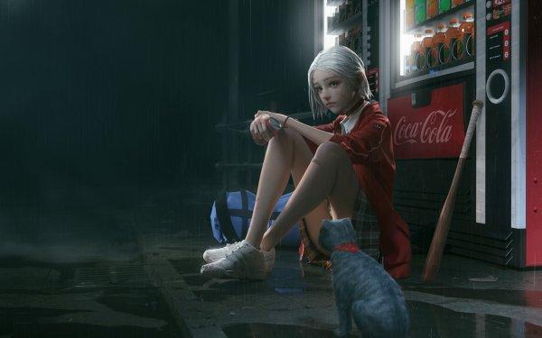 Anime Original Cat Baseball Bat Skirt Coca Cola Drink Collar White Hair HD Wallpaper | Background Image