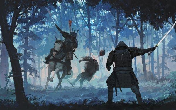 Fantasy Samurai Warrior Sword Katana Forest Horse Fight HD Wallpaper | Background Image