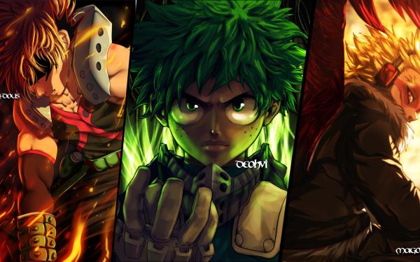 Anime My Hero Academia Hawks Izuku Midoriya Katsuki Bakugou HD Wallpaper | Background Image