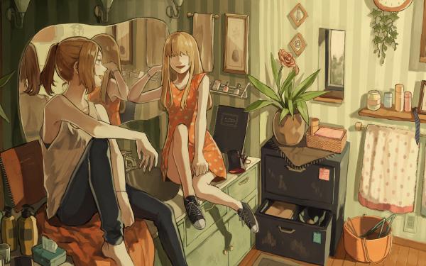 Anime Original Long Hair Blonde Brown Hair Ponytail Rose Mirror HD Wallpaper | Background Image