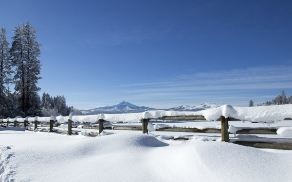 Photography Winter Fence Snow Oregon HD Wallpaper   Background Image