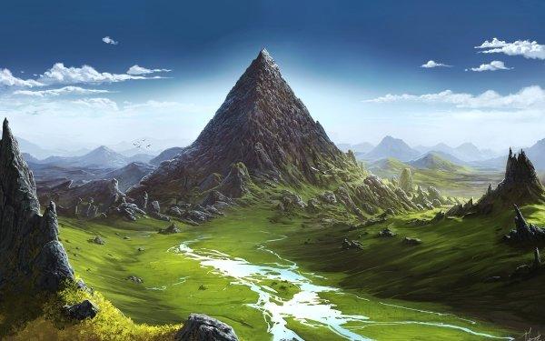 Fantasy Landscape Mountain Sky Peak HD Wallpaper | Background Image