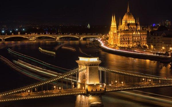 Man Made Budapest Cities Hungary Night River Chain Bridge Margaret Bridge HD Wallpaper | Background Image