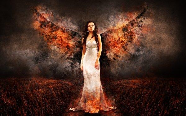 Fantasy Angel Wings Fire HD Wallpaper | Background Image