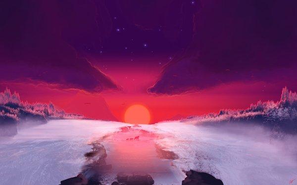 Artistic Landscape Sunset Wolf Nature Sky HD Wallpaper   Background Image