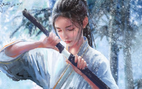 Fantasy Samurai Snowfall Snowflake Woman Warrior HD Wallpaper   Background Image