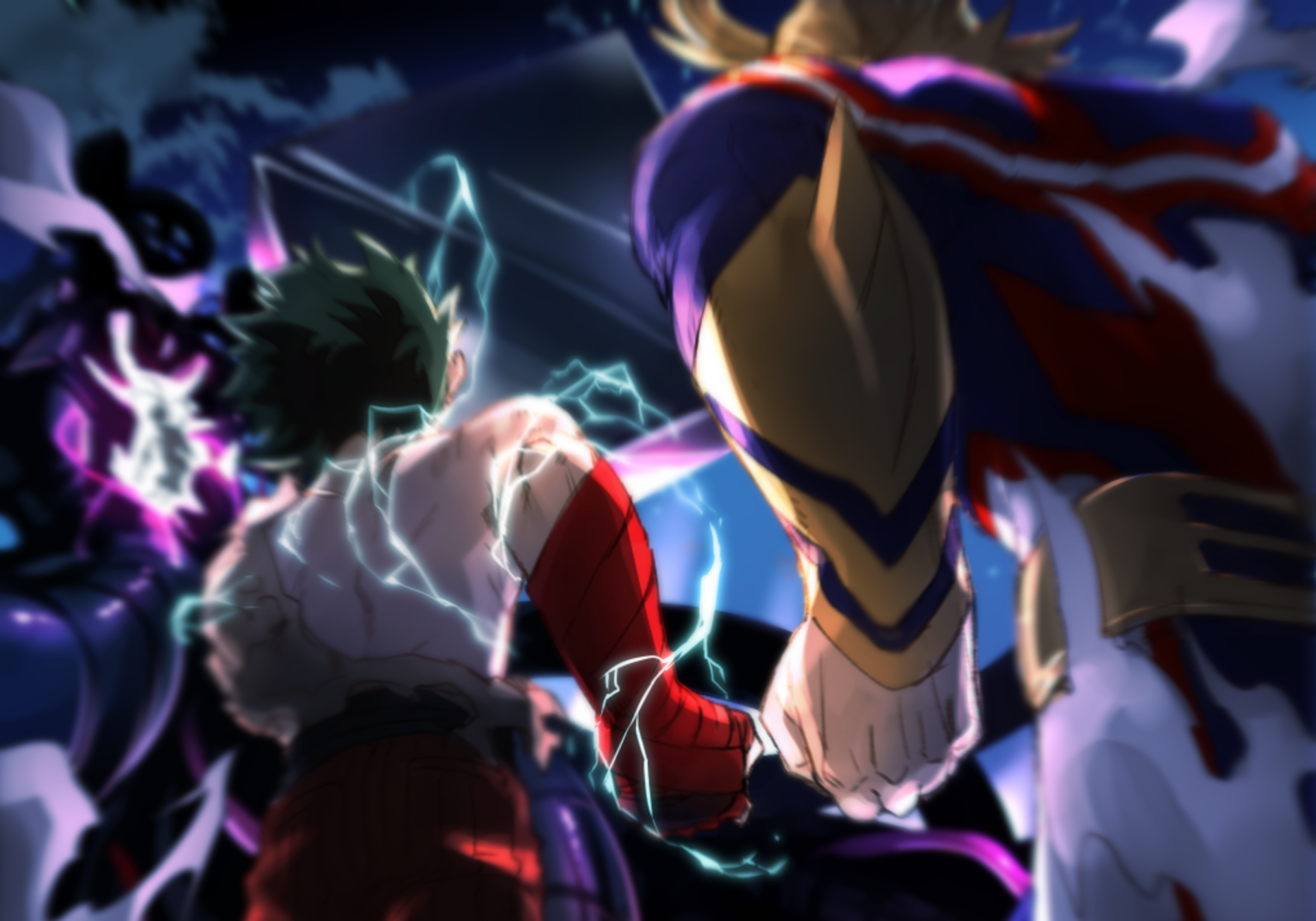 All Might And Deku Vs Vilain Hd Wallpaper Background Image