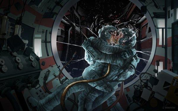 Sci Fi Astronaut Space Suit Love Kiss HD Wallpaper | Background Image