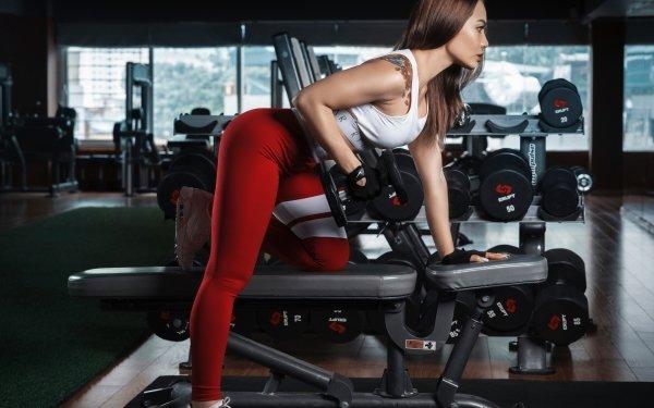 Women Weightlifting Fitness Brunette Tattoo HD Wallpaper   Background Image