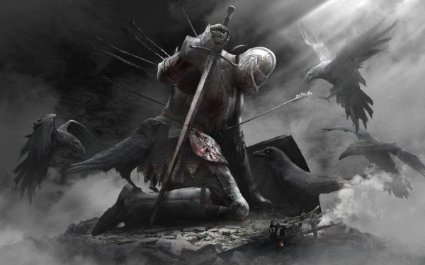 Fantasy Knight Sword Shield Crow HD Wallpaper   Background Image