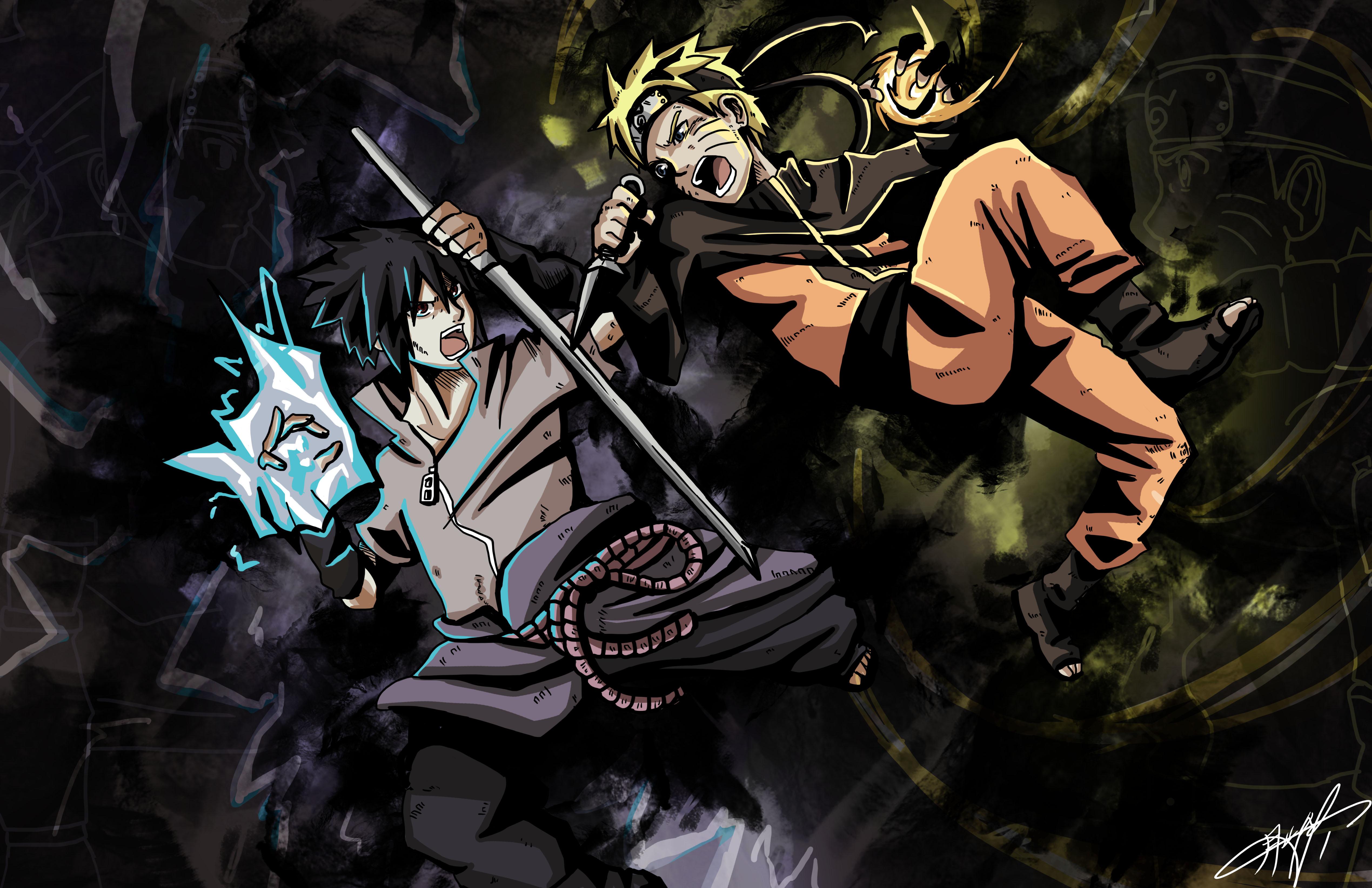 Naruto Vs Sasuke 4k Ultra Hd Wallpaper Background Image