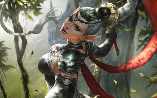 Fantasía Mujeres Guerrera Woman Warrior Elfo Braid Pointed Ears Blue Eyes Fondo de pantalla HD   Fondo de Escritorio